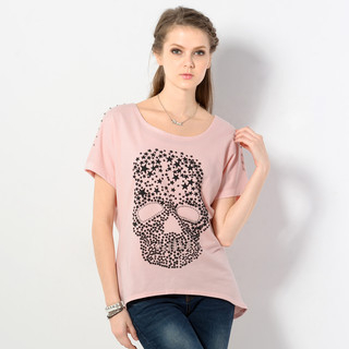 YesStyle Z - Studded Short-Sleeve Skull Pirnt Top