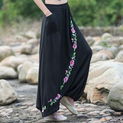 Diosa - Floral Embroidered Harem Pants