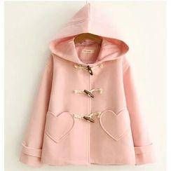 Citree - Heart Shaped Pocket Hooded Toggle Jacket