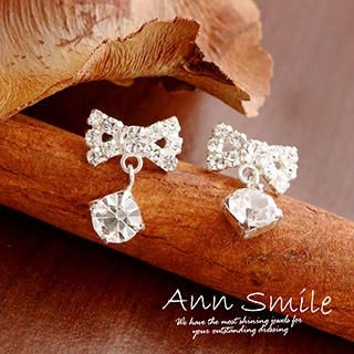 AnnSmile - 925 Silver Rhinestone Bow Earrings