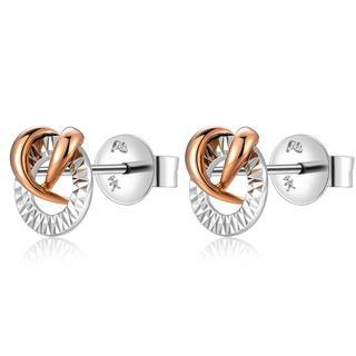 MaBelle - 14K Italian Rose and White Gold Diamond-Cut Round Circle Stud Earrings, Women Girl Jewelry in Gift Box