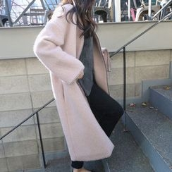 Hello sweety - Wool Blend Snap-Button Coat with Scarf