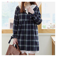 Sechuna - Raglan-Sleeve Plaid Dress