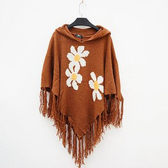 Polaris - Hooded Flower Fringe Knit Cape