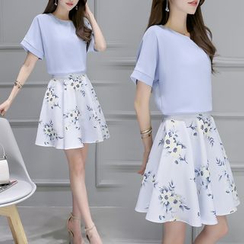 EFO - Set: Chiffon Top + Floral A-Line Skirt