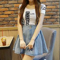 Fashion Street - Suspender Denim Skirt