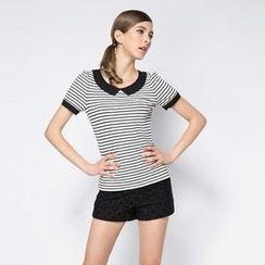 O.SA - Short-Sleeve Contrast-Trim Striped Top