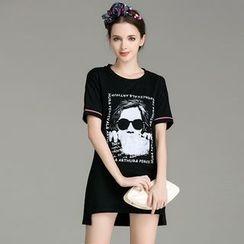 Cherry Dress - Printed Dip Back Short-Sleeve Dress