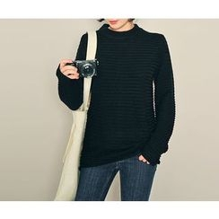 HOTPING - Round-Neck Textured Knit Top