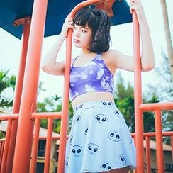 Little Dolphin - Set: Printed Tankini + Skirt