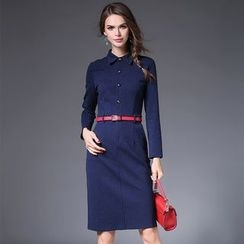 Diosa - Long-Sleeve Check Sheath Dress