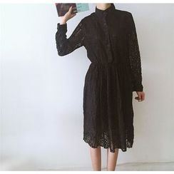 Bloombloom - Stand-collar Long-Sleeve Lace Dress