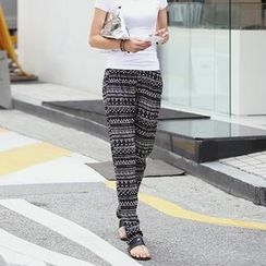 REDOPIN - Patterned Band-Waist Harem Pants