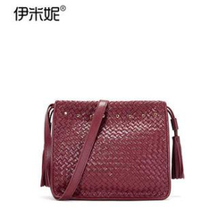 Emini House - Genuine Leather Tasseled Woven Crossbody Bag