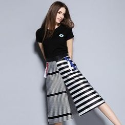 Cherry Dress - Set: Short-Sleeve T-shirt + Stripe Panel Culottes