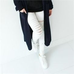 GLAM12 - Cut-Off Detailed Skinny Jeans