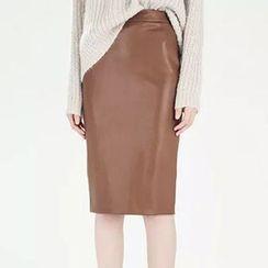 BOHIN - Faux Leather Midi Skirt