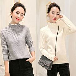 Romantica - Funnel-Neck Knit Top