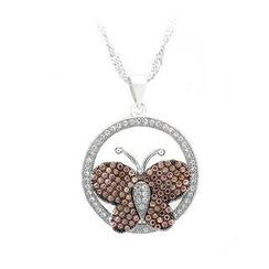 BELEC - 925 Sterling Silver Butterfly Pendant with Brown and White Cubic Zircon and Necklace