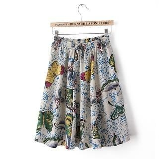 Flower Idea - Elastic-Waist A-Line Skirt