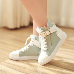 Pretty in Boots - Buckled High-top Sneakers