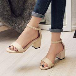 Pastel Pairs - 純色粗跟涼鞋