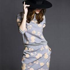 Kayro - Set: Floral Pullover + Jersey Skirt