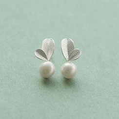 Love Generation - Sterling Silver Faux Pearl Earrings