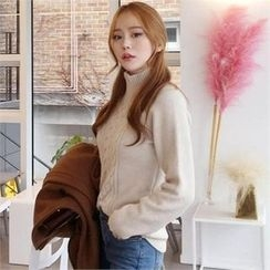 QNIGIRLS - Turtle-Neck Cable-Knit Sweater