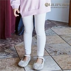 LILIPURRI - Girls Rose Embossed Jacquard Leggings