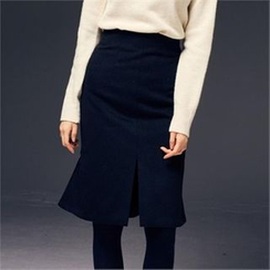 MAGJAY - Wool Blend Slit-Front Skirt