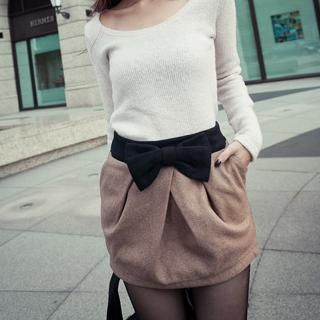 PUFII - Bow-Accent Wool Skirt