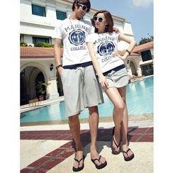 Lovebirds - Set: Short-Sleeve Printed Couple T-Shirt + Drawstring Shorts / Skort