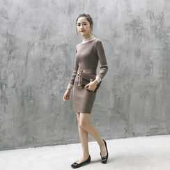 GAGAI - Belted Knit Dress
