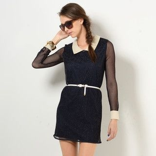 YesStyle Z - Contrast-Trim Mesh Glitter Dress with Belt
