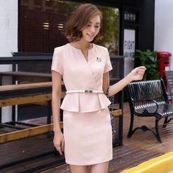 Eleganza - Set: Short-Sleeve Blazer + Skirt