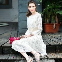 洛圖 - 長袖蕾絲連衣裙