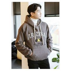 HOTBOOM - Hooded Lettering Sherpa-Fleece Pullover