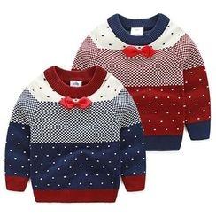 貝殼童裝 - 童裝蝴蝶結裝飾圓點毛衣