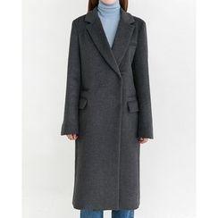 Someday, if - Hidden-Button Wool Blend Long Coat