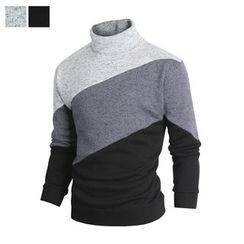 DANGOON - Turtle-Neck Color-Block Brushed-Fleece Lined Pullover