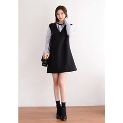 DEEPNY - Shirt-Collar Mock Two Piece Mini Dress