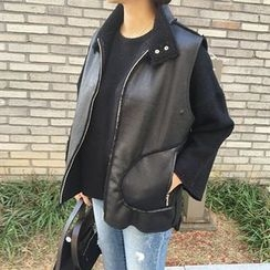 STYLEBYYAM - Fleece-Lined Faux-Leather Vest