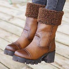 Mancienne - Fleece-Trim Chunky-Heel Short Boots