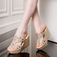 Hannah - Embellished Wedge Slide Sandals