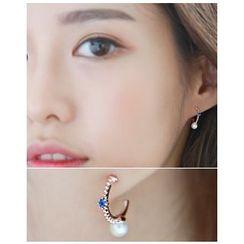 Miss21 Korea - Faux-Pearl Accent Mini Hoop Earrings