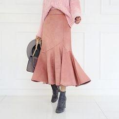 DABAGIRL - Ruffle-Hem Faux-Suede Long Skirt