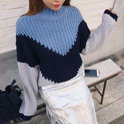 DABAGIRL - Mock-Neck Color-Block Sweater