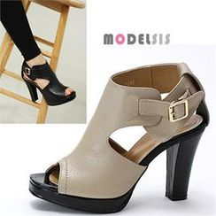 MODELSIS - Genuine Leather Toe-Open Sandals