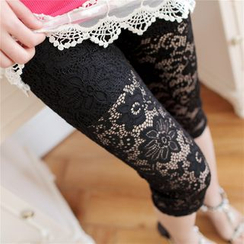 Meigo - Lace Cropped Leggings